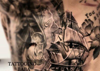Tattoo Realistic Schiff